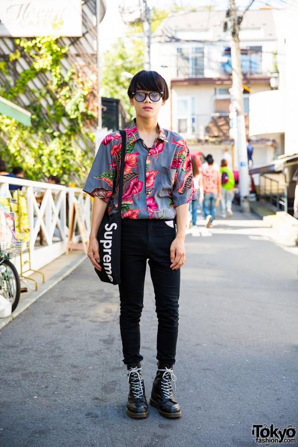 Harajuku Guy in Vintage Floral Shirt, Skinny Jeans, Dr. Martens & Supreme