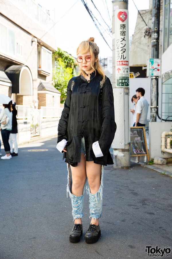 Harajuku Girl in Fig&Viper Cutout Jeans, Chinese Style Jacket, Funky Fruit Winged Backpack & Studded Creepers