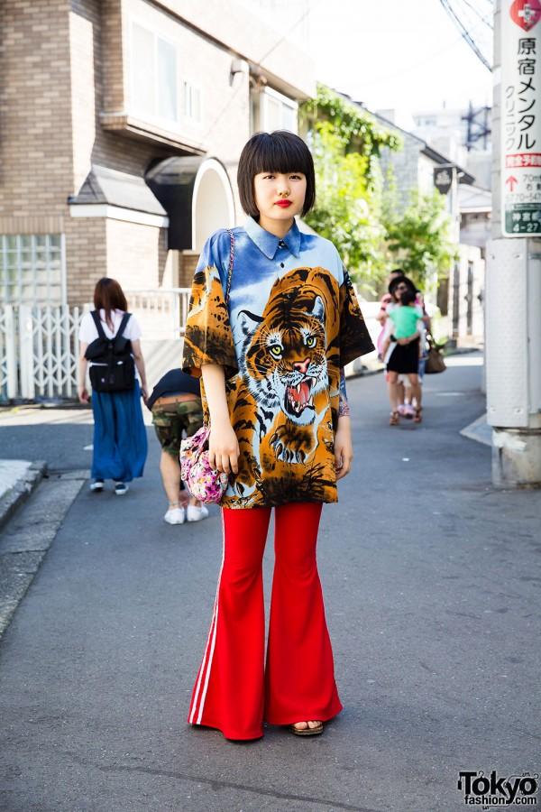 Harajuku Girl in Pinnap Flare Jersey Pants, Tiger Shirt, Kinji Bag & Geta Sandals