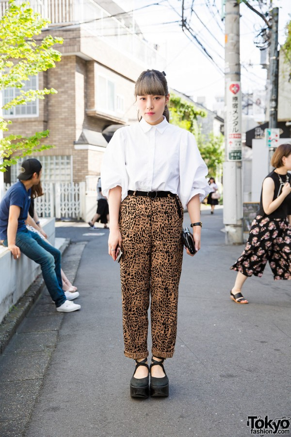 Stylish Harajuku Girl w/ Nadia Dress Shirt, The Virgins Cheetah Print & Tokyo Bopper