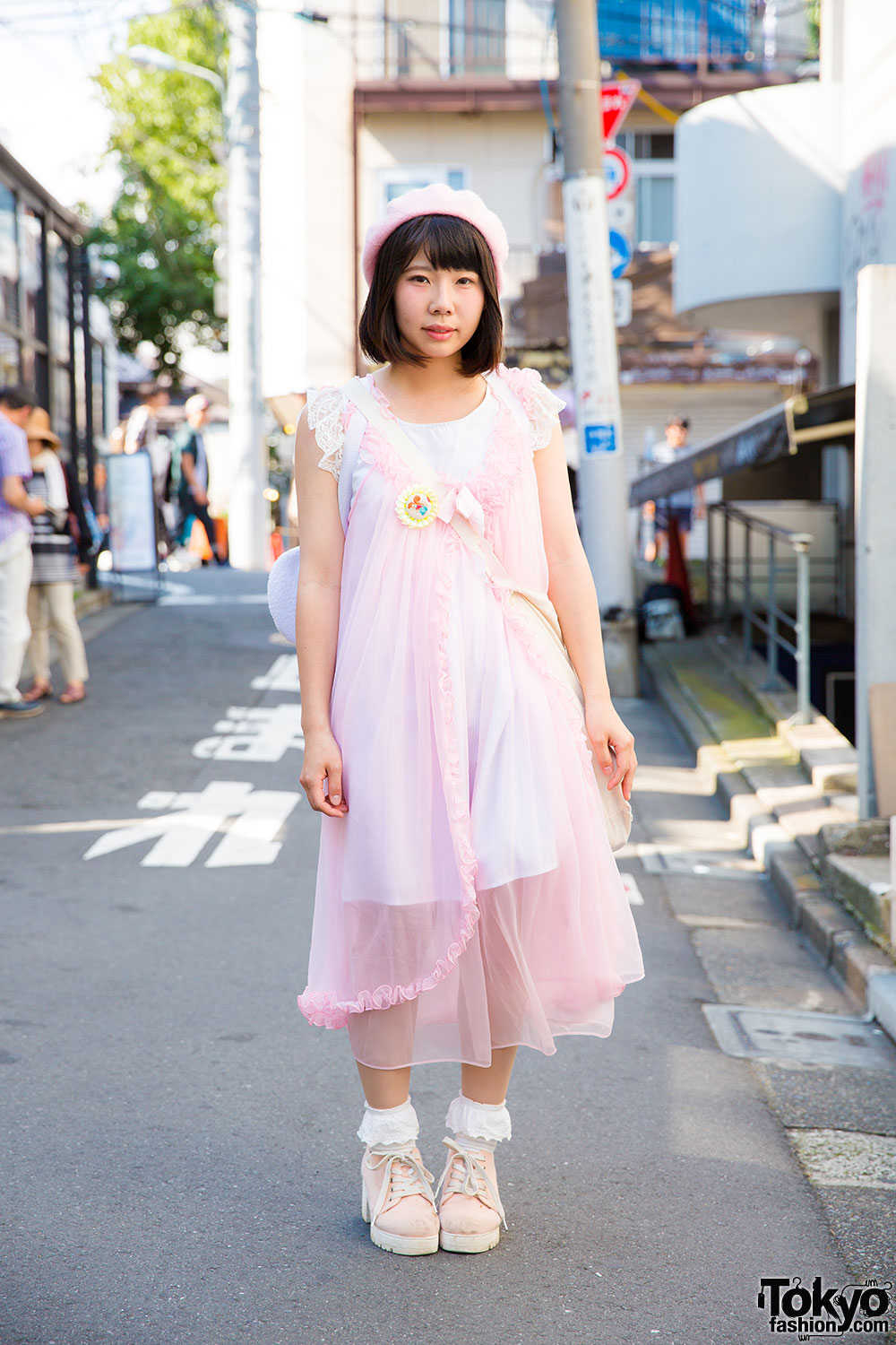 Harajuku Pastel Lingerie Style W/ Pink Negligee, Beret