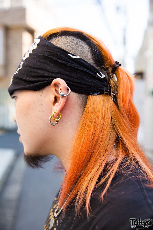 Harajuku Guy S Street Style W Shaved Hair Bandana Band