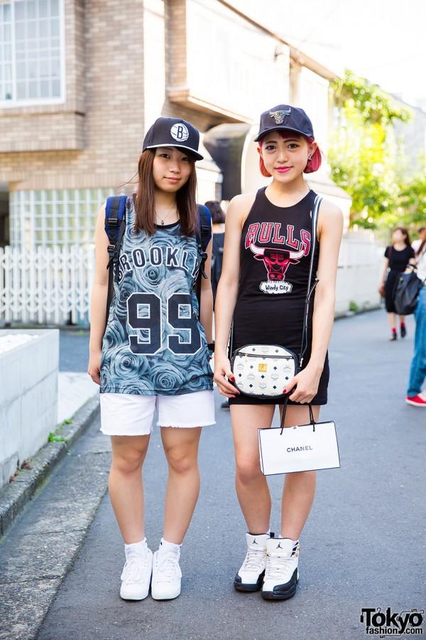Harajuku Girls in Sporty Chic Fashion w/ NBA Chicago Bulls Jerseys, X-Girl, Nike & Adidas