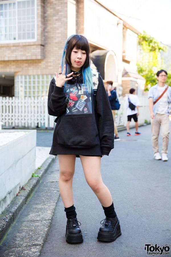 Harajuku Girl w/ Piercings in Black Brain Oversized Sweatshirt & Demonia Platforms