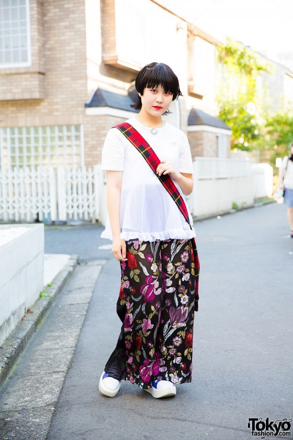 Chic Harajuku Girl in Mixed Prints with Punk Cake, Comme des Garcons, Maice & Tokyo Bopper
