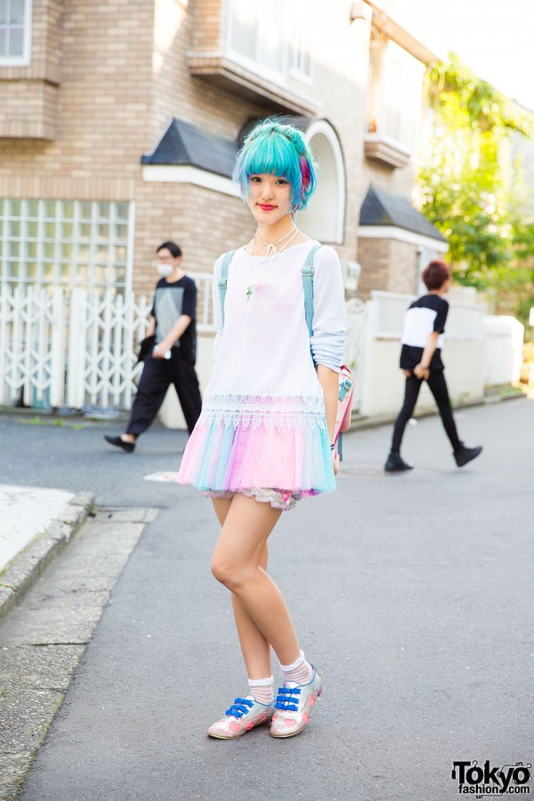 Pastel fashion with Forever21 sweater and tank top, 6%DokiDoki tulle skirt, Irregular Choice cutout shoes, and Phylosophy colorblock backpack