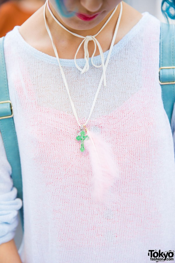 Forever21 tank top and sweater, handmade necklace