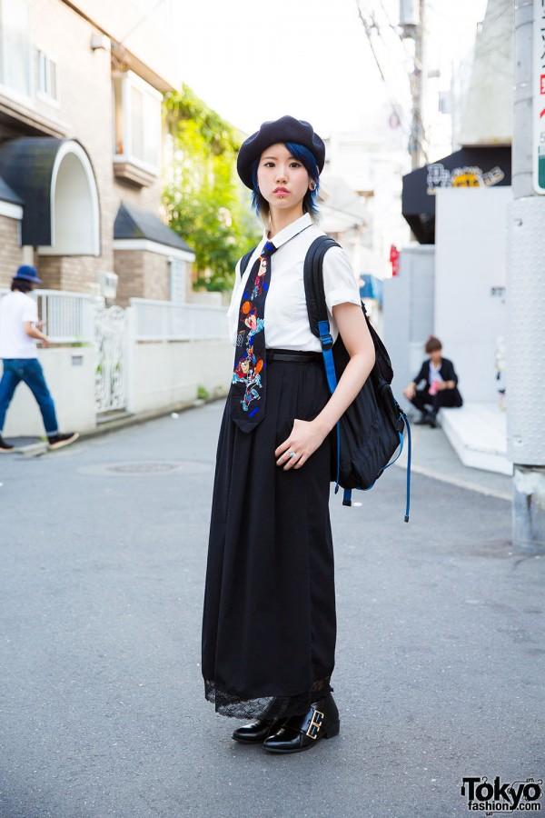 Harajuku Girl w/ Blue Hair, Piercings, Beret & Looney Tunes Necktie