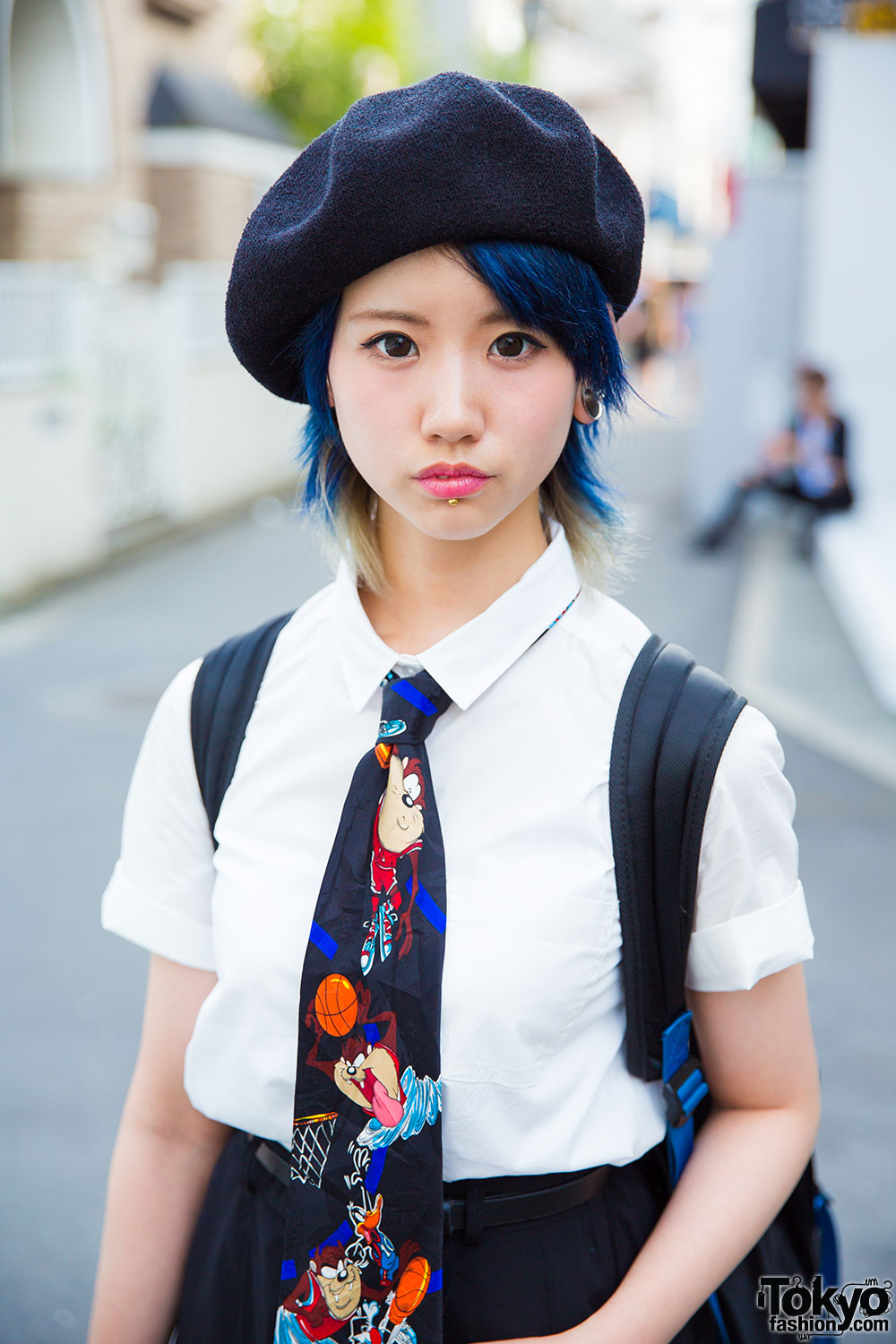 Harajuku Girl w/ Blue Hair, Piercings, Beret & Looney ...
