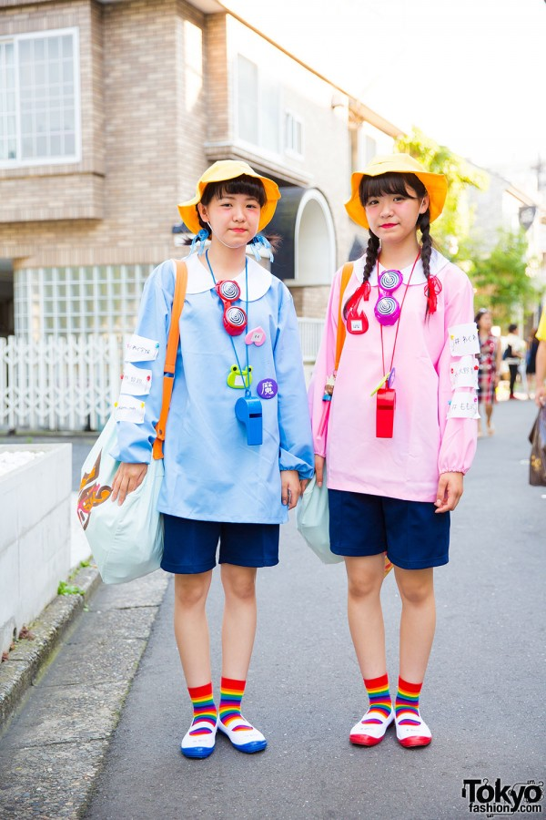 Harajuku Twins in Matching Blue & Pink Fashion & Giant Whistles