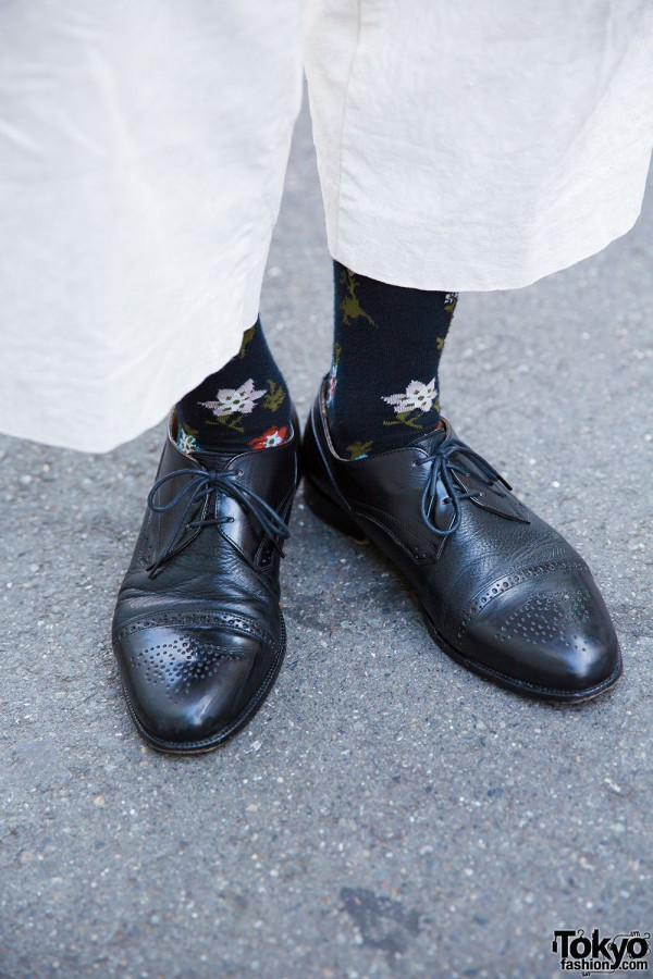 Paul Smith floral print socks and resale leather creepers