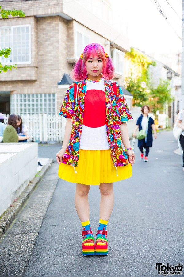 Colorful Harajuku style w/ Kinji hoodie jacket, Japan flag shirt, pleated skirt and Candy Stripper platform sandals