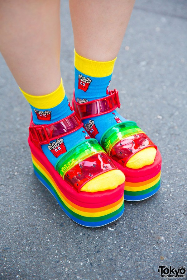 Colorful socks and Candy Stripper rainbow platform sandals