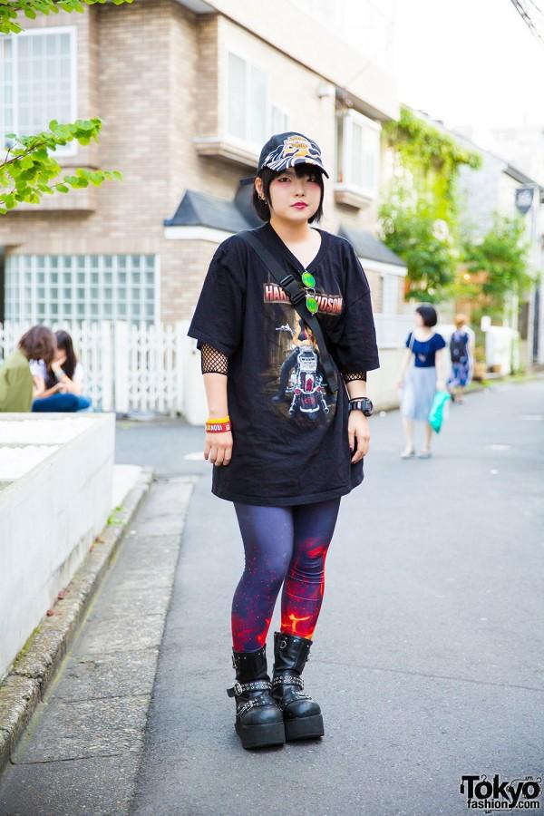 Harajuku Girl in Dark Fashion w/ Harley Davidson, Simpsons, Demonia & G-Shock