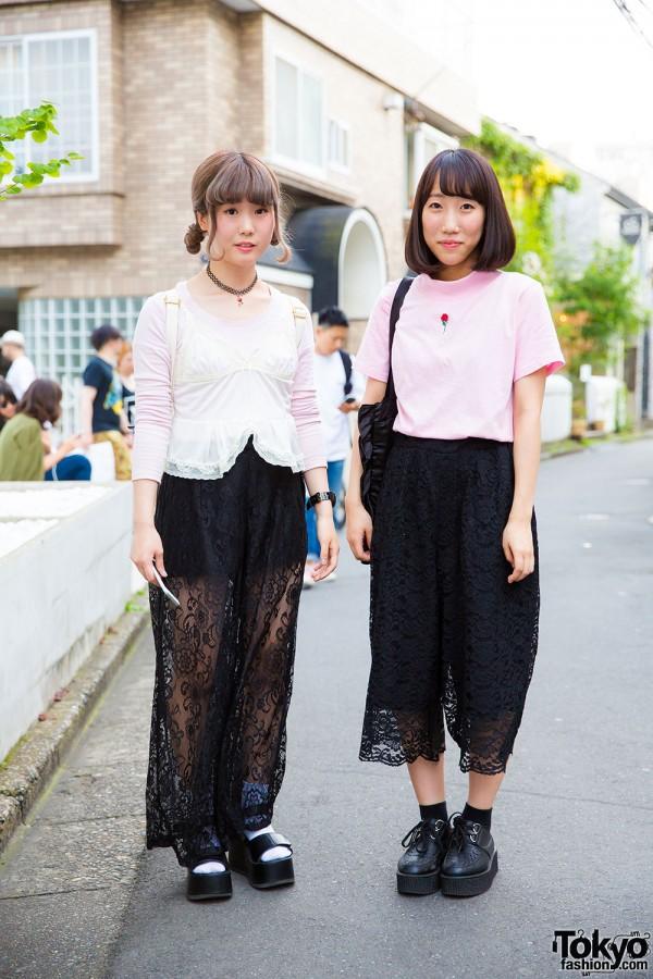 Black Lace Pants in Harajuku