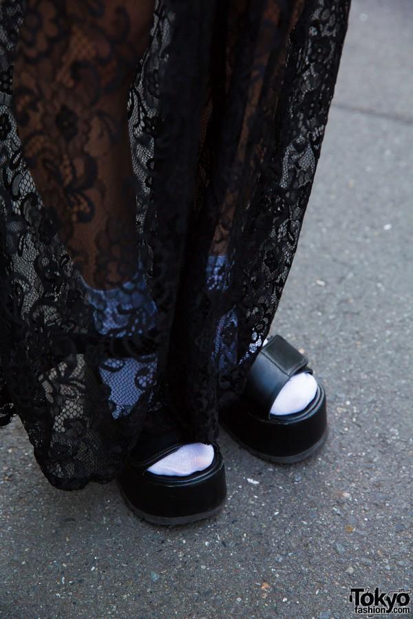 WEGO wide leg lace pants and Yosuke platform sandals
