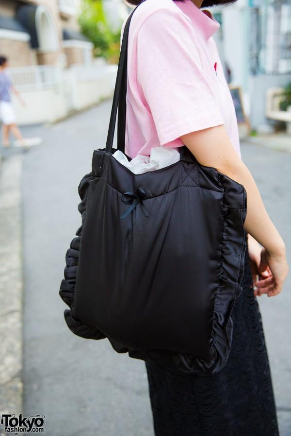 Spinns black ruffle satin bag