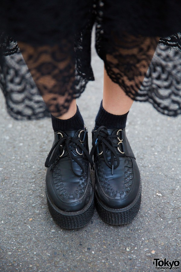 Black lace pants and platform creepers