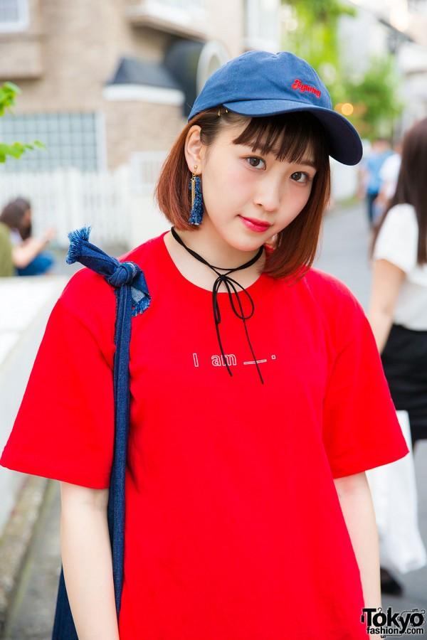 Merry Jenny red tshirt, Kaorinomori denim tote, Aymmy denim cap and Me% choker