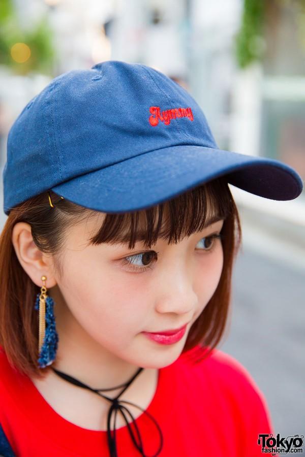 Aymmy denim cap and denim tassel earrings