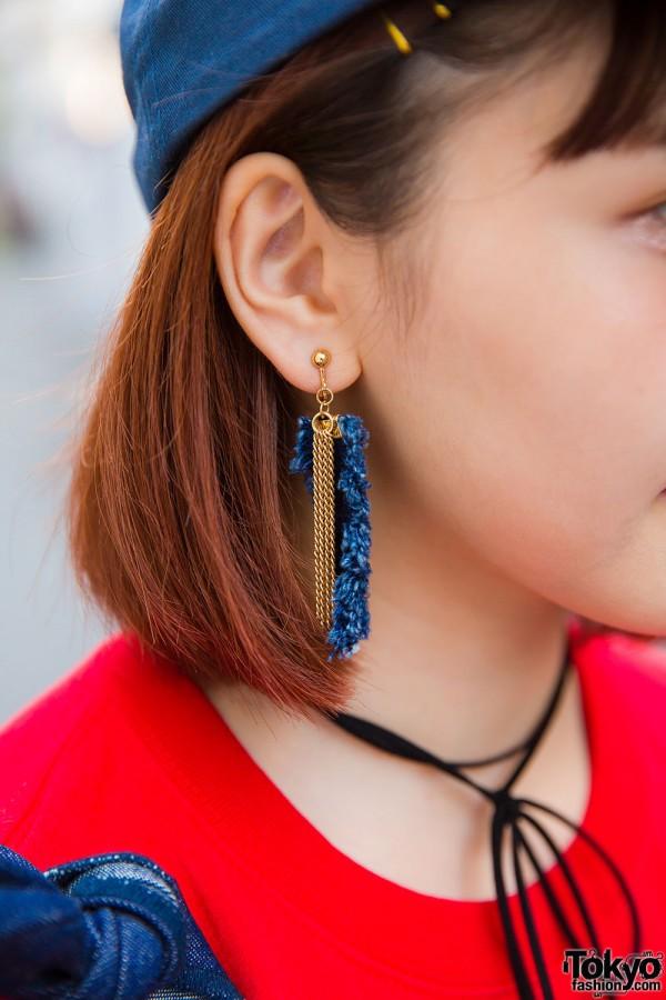 Denim tassel earrings and me% choker necklace