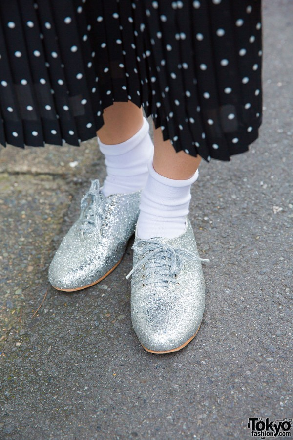 White socks and resale silver glitter sneakers