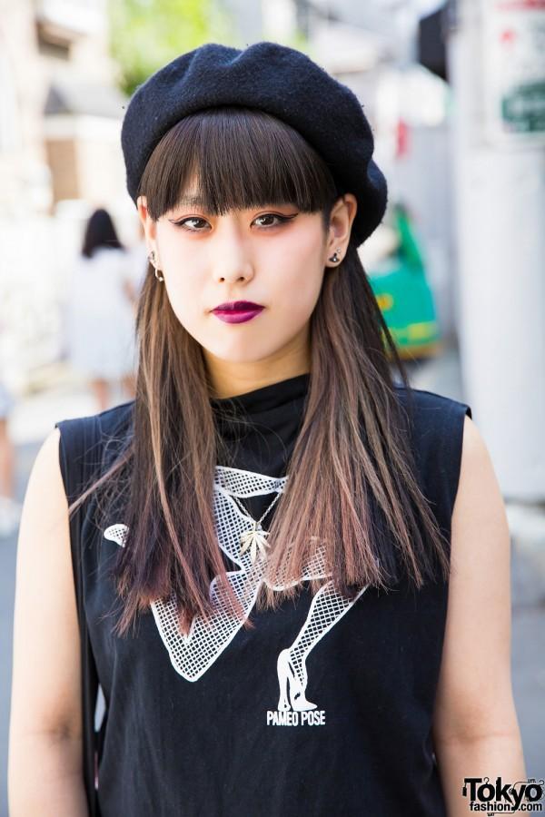 Black beret and Pameo Pose sleeveless top