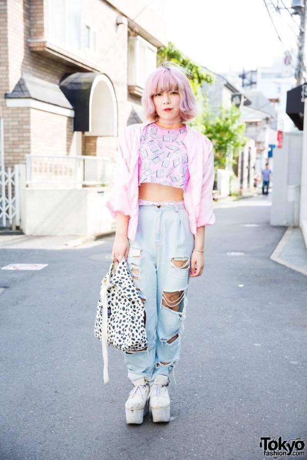 Harajuku Girl in Pastel Fashion w/ Uniqlo, GU & Tokyo Funks Buttstain