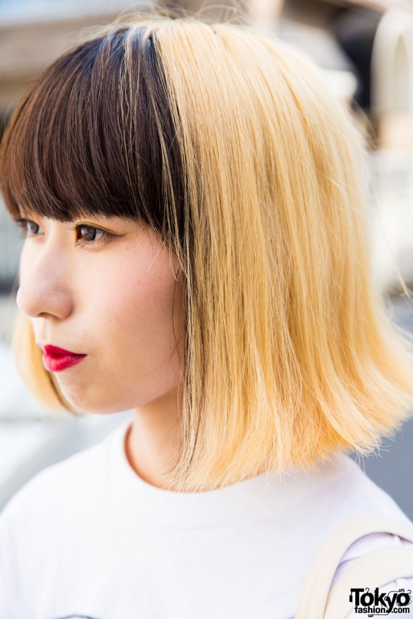 Two-tone hair and red lipstick