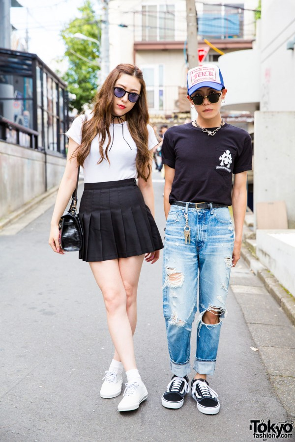 Harajuku Duo in Sunglasses w/ Chrome Hearts, N. HOOLYWOOD & Vans