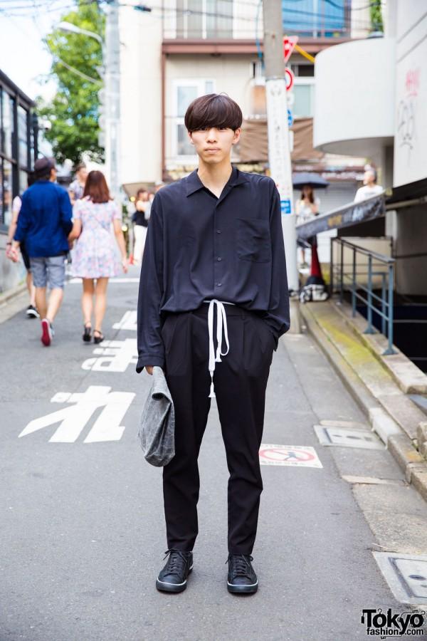 Harajuku Guy in Dark Minimalist Resale Fashion w/ Comme des Garcons x Nike