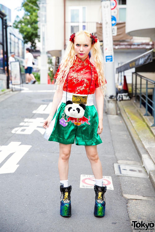 Asian-Inspired Harajuku Street Style W/ Muay Thai Shorts