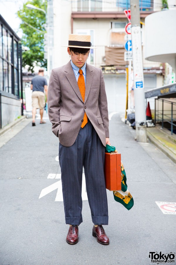 Harajuku Guy in Vintage Suit Street Style & CA4LA Hat
