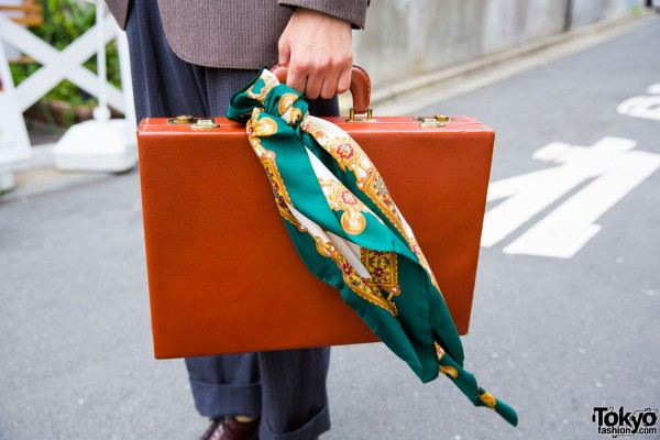 Vintage style briefcase with silk scarf