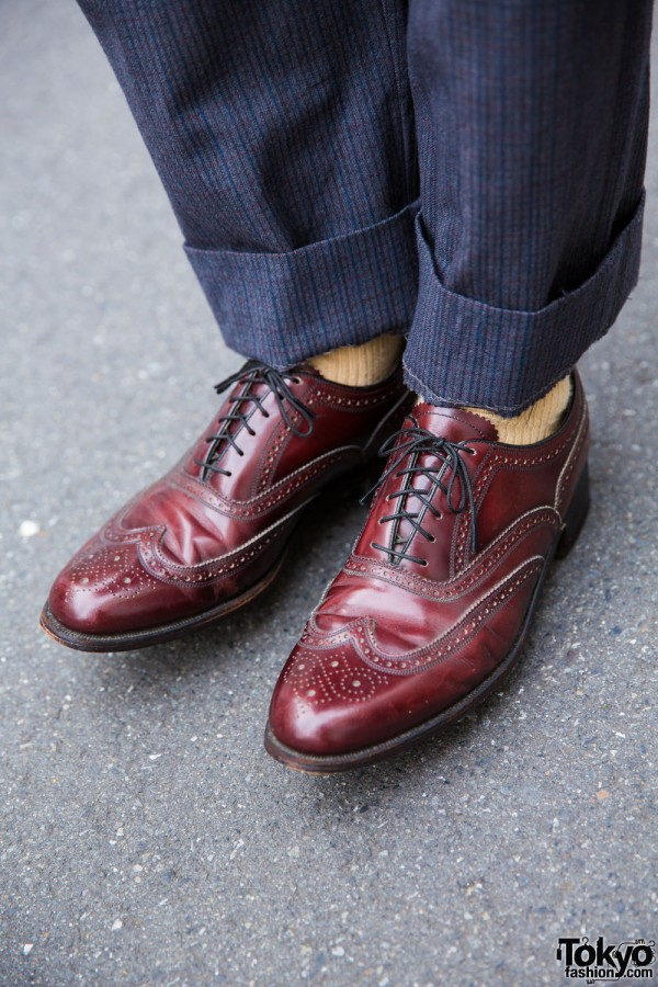 Vintage leather pointy brogues