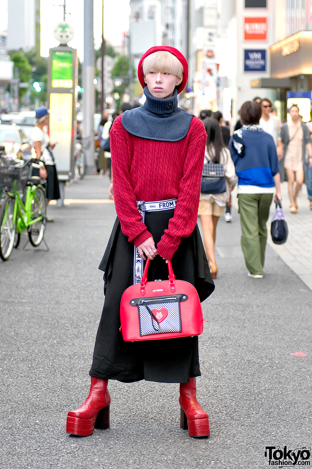 Harajuku Guy in Comme Des Garcons, From K To All & Snakeskin Platform Boots