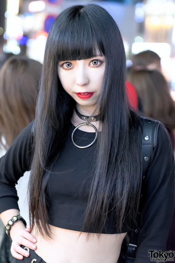 Black Japanese Hairstyle & Black Croptop