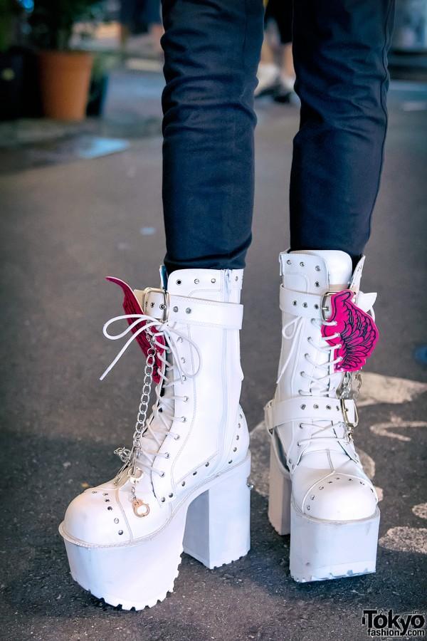 Tall White Yosuke Platform Boots