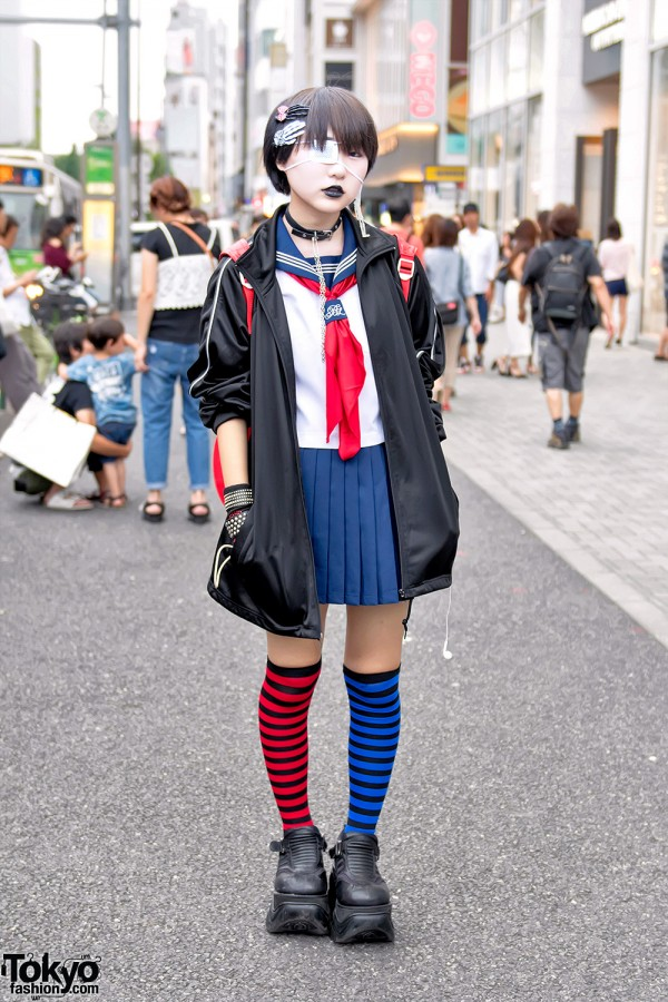 Japanese School Uniform, Demonia, Striped Socks & Momoclo Winged Backpack in Harajuku