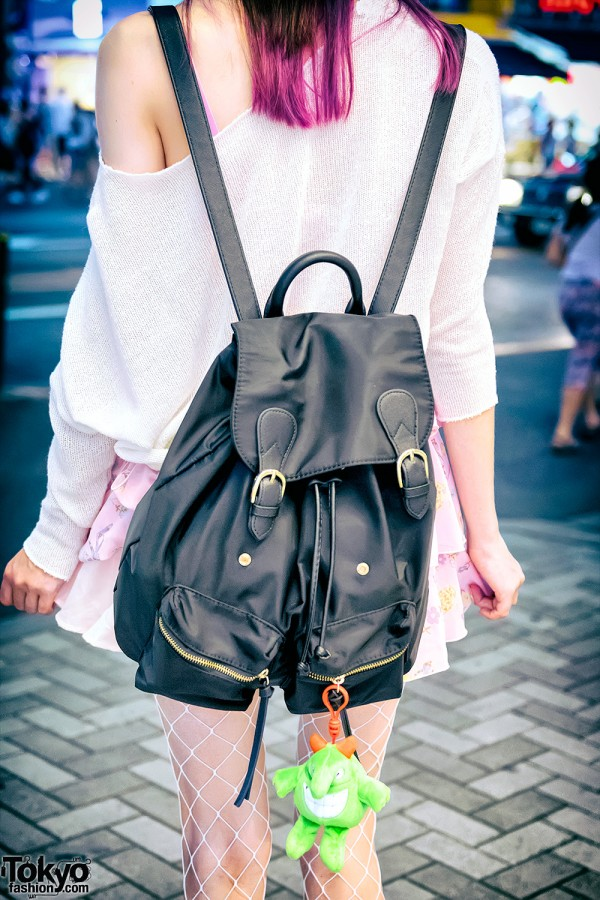 Knit Top & Leather Backpack