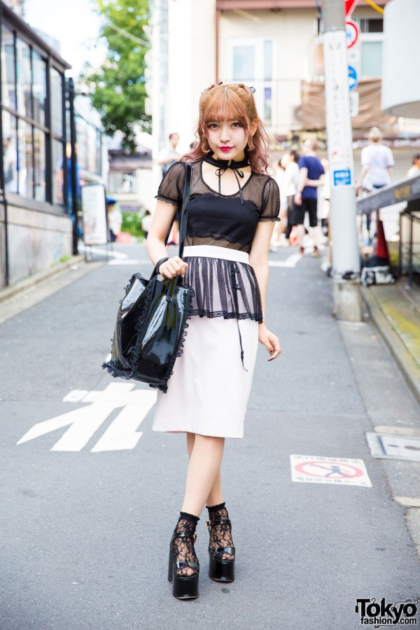 Mesh, lace and ruffles fashion in Harajuku