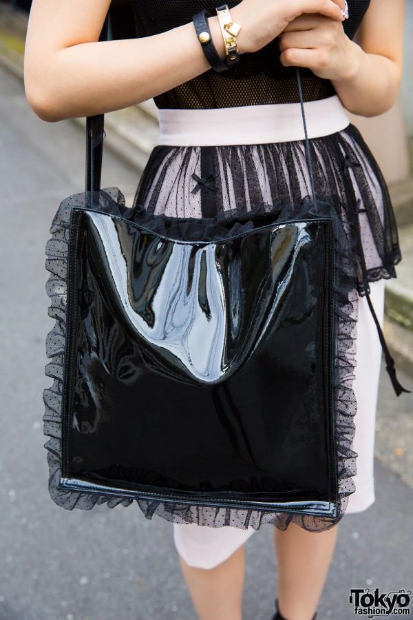 E Hyphen World Gallery BonBon black bag w/ ruffled edges
