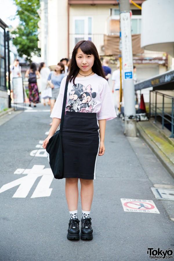 Harajuku Girl in Mickey & Minnie Mouse Tee, A.D.G., Bubbles & Yosuke