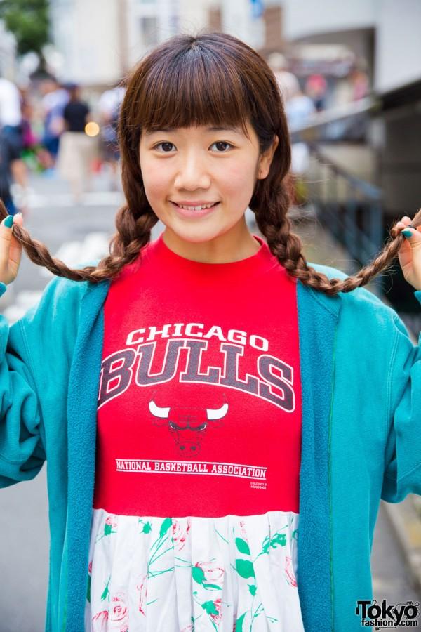 Karin Tempura Kidz T-shirt dress and Champion jacket