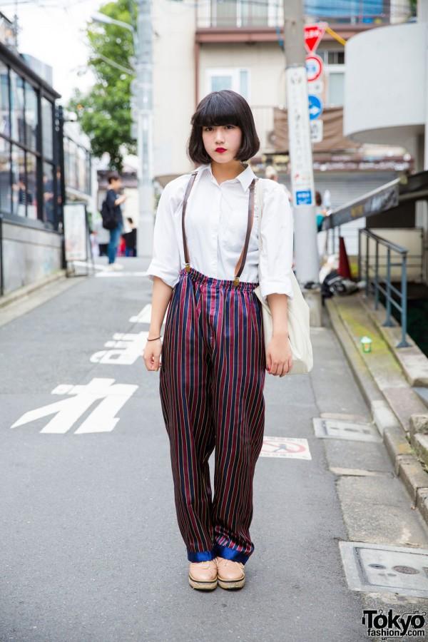 Harajuku EDM Group Member in Resale Fashion w/ Suspenders & Silk Trousers