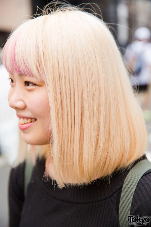 Blonde hair and pink dip dye bangs