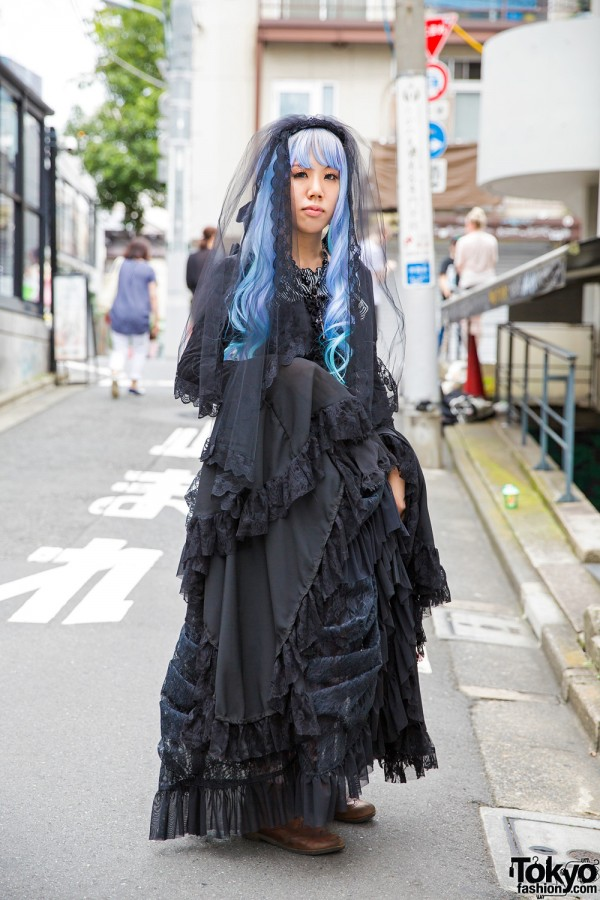 Harajuku Gothic Lolita in Dangerous Nude, Black Peace Now & Nude Sox