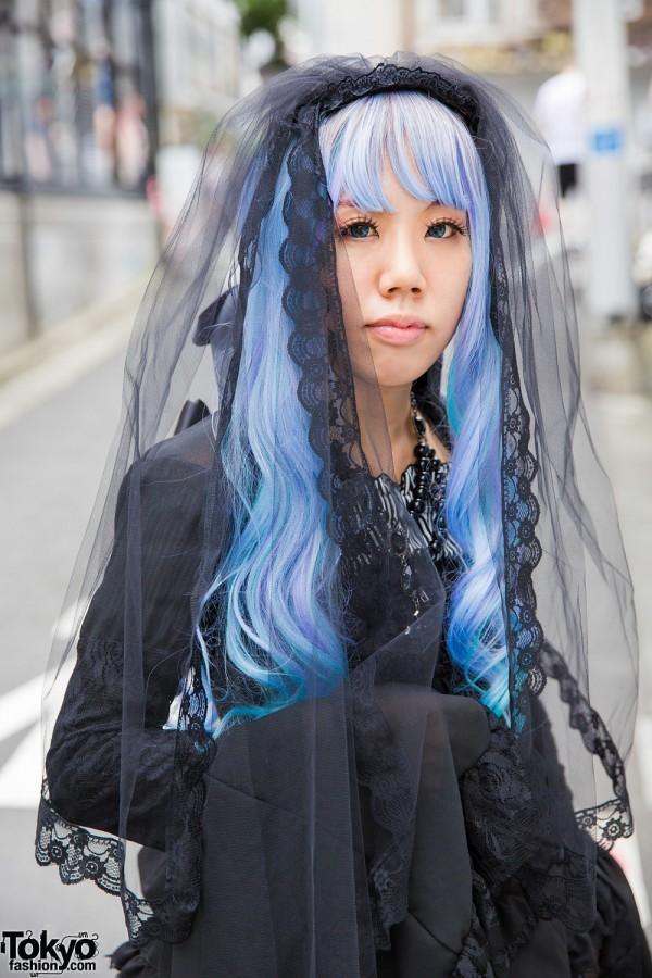 Vivid blue and purple wig