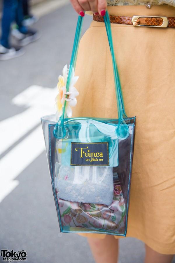 Trinca Un Plus Un Teal Transparent Tote Bag