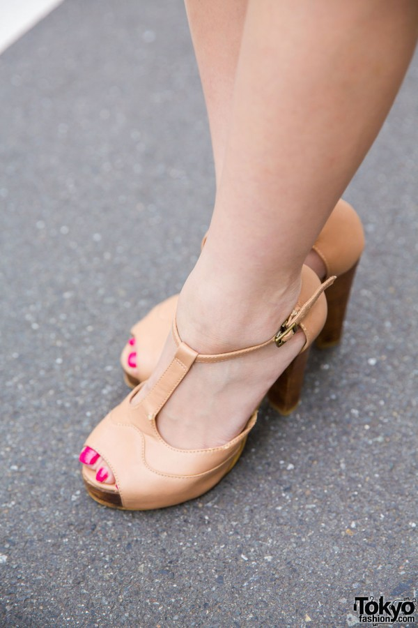 Camel T-Strap Peep Toe Heels